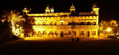 View of Khimsar Fort hotel at night, from the ramparts - Khimsar