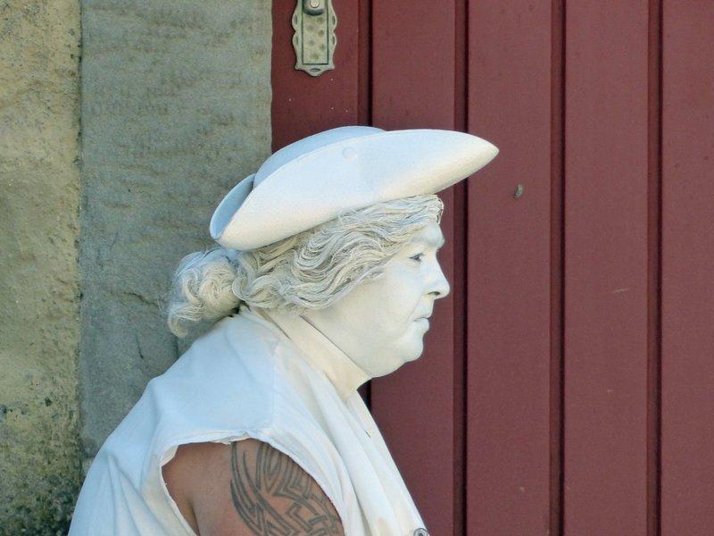 Living statue taking a break, Lindau