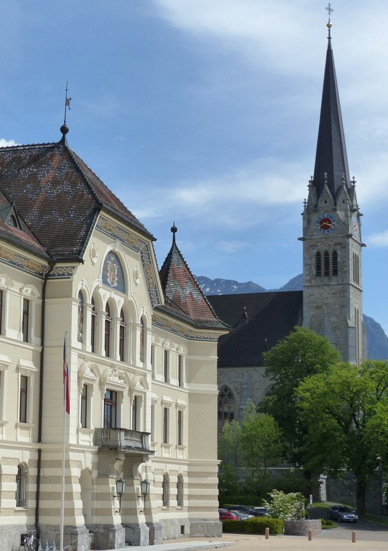Government building and St Florian's church, Vaduz