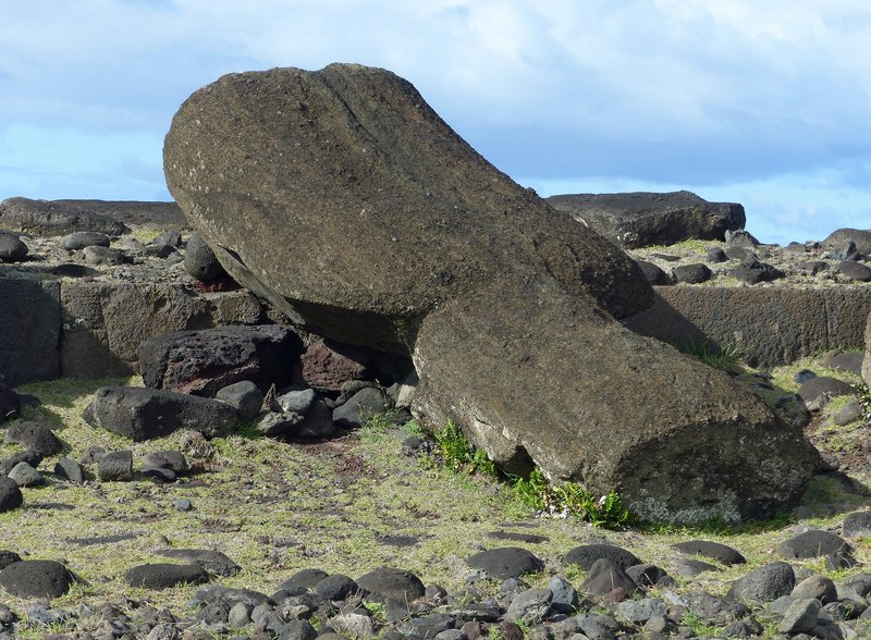 Toppled moai at Ahu Vaihu, Rapa Nui