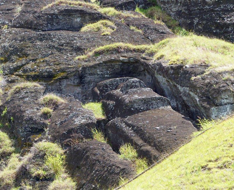 Pair of moai, Rano Raraku, Rapa Nui
