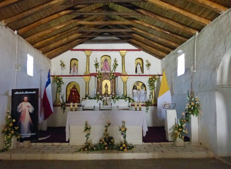 Inside the church, Toconao, Atacama Desert