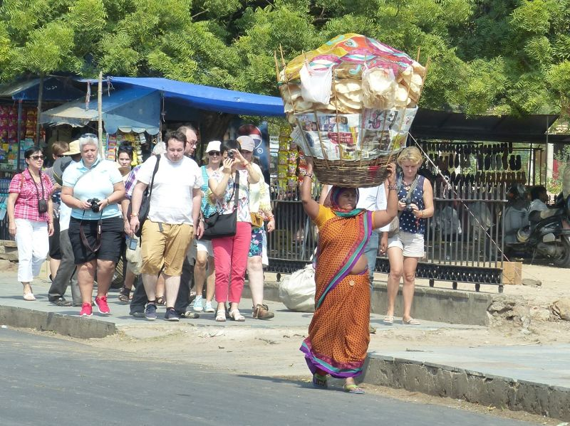 On the streets of Jaipur: tourists and local - Jaipur