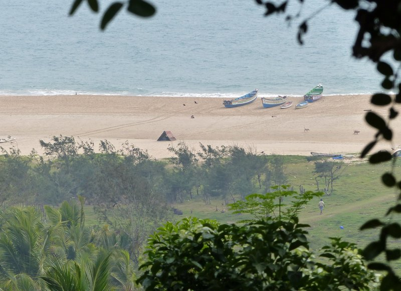 View of Chowara beach from our bungalow