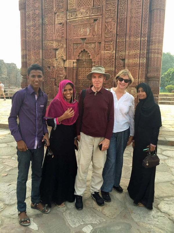 With young tourists at Qutb Minar - Delhi
