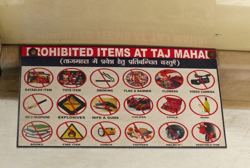 Taj Mahal: prohibited items - Agra