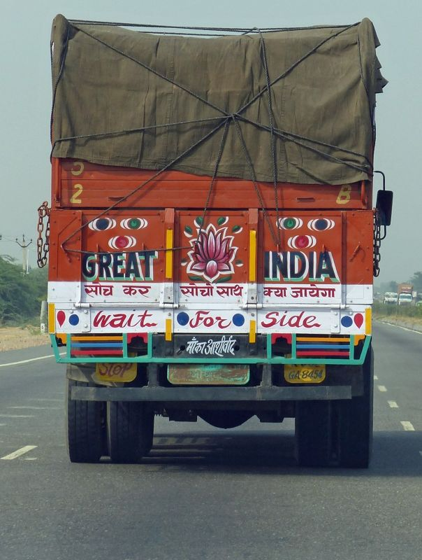 Colourful lorry on the road to Khimsar