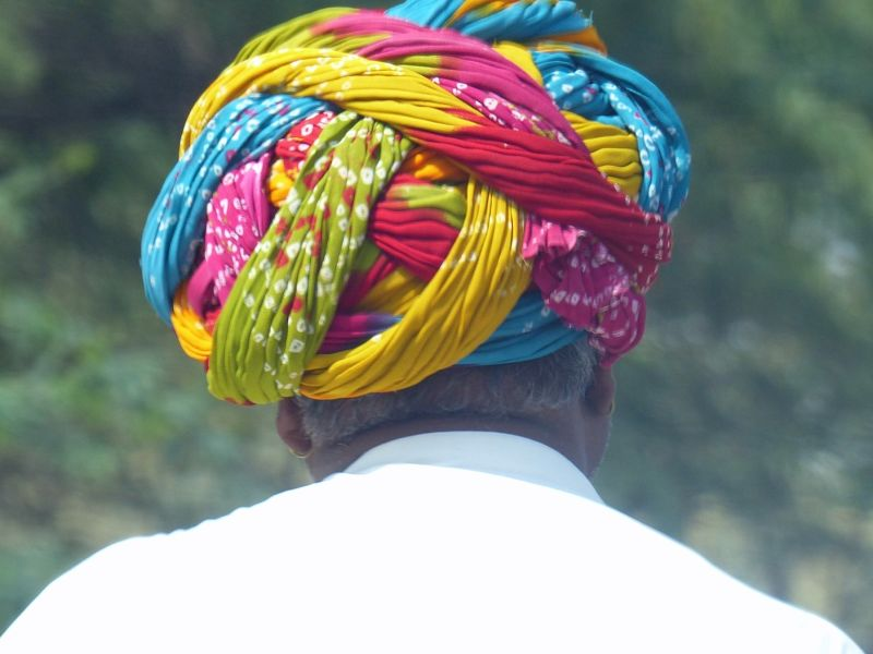Colourful turban on the road to Khimsar
