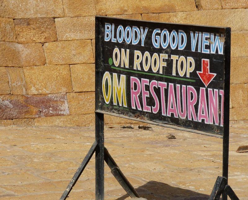Amusing sign by Suraj Pol - Jaisalmer Fort