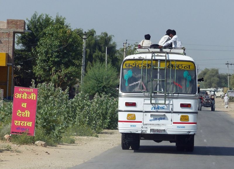Local bus - on the road to Jaisalmer