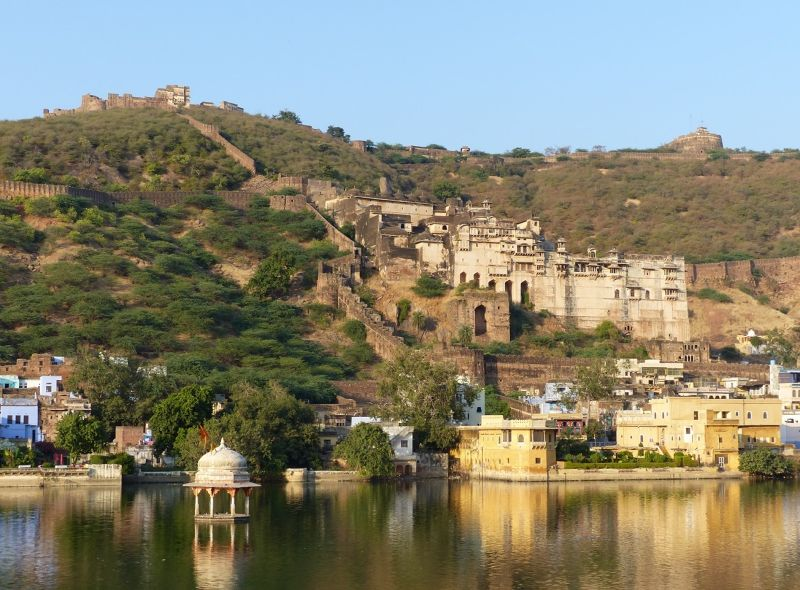 Palace and fort from lake-side - Bundi