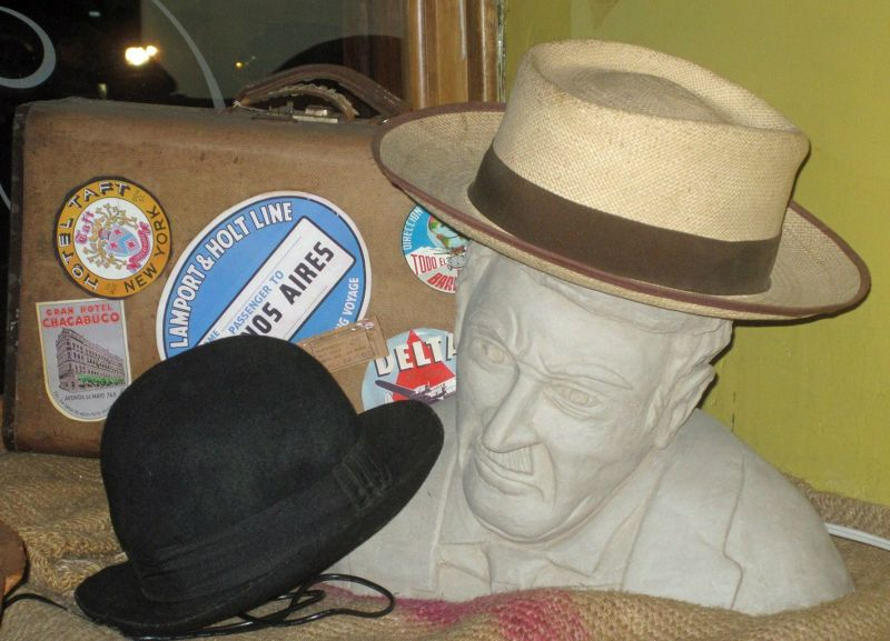 Panama hat display in a Cuenca bar - Cuenca