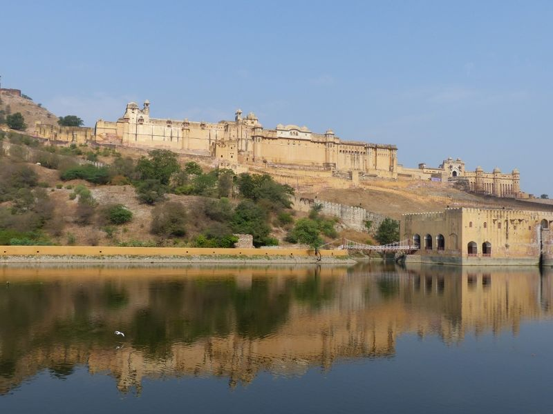 Amber Fort from the shores of Maota Lake - Amer