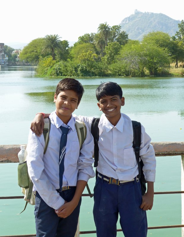 Schoolboys at Swaroop Sagar, Udaipur