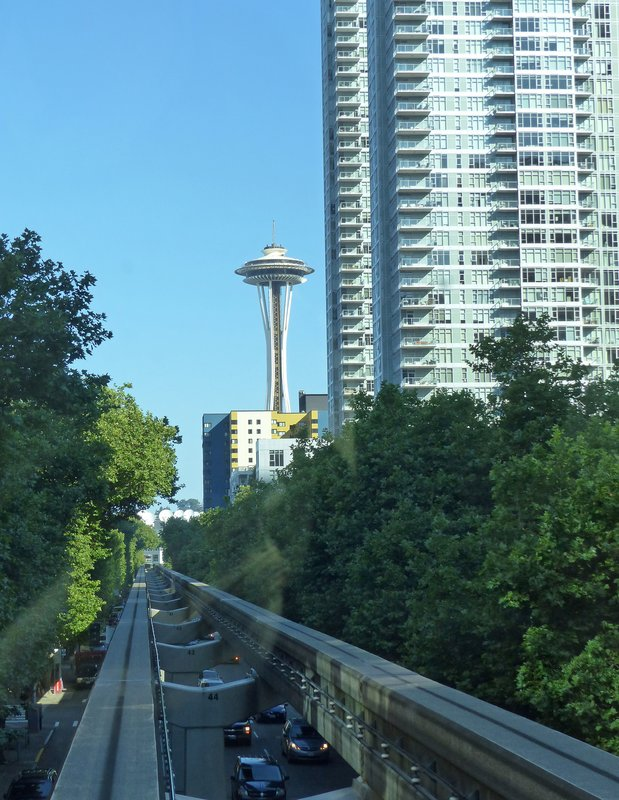 On the monorail to the Space Needle