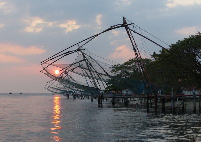 Chinese fishing nets at sunset