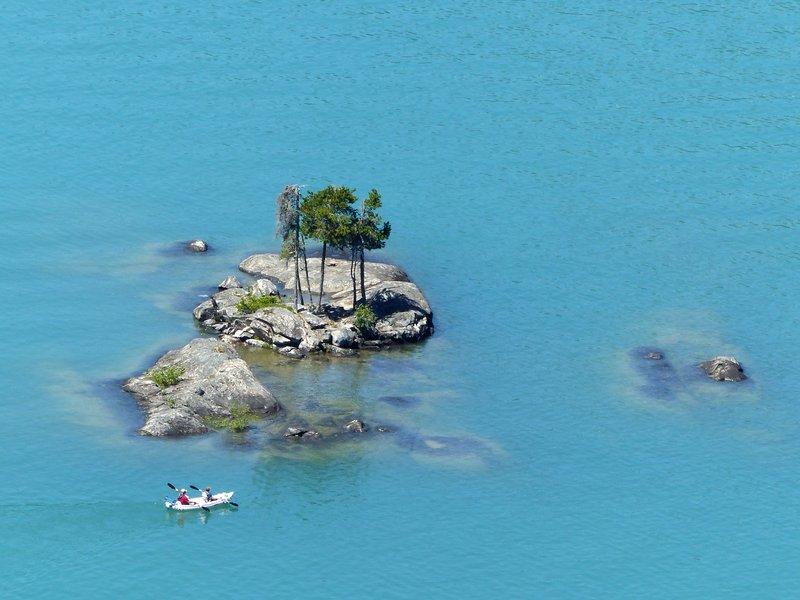 Islands in the lake, Diablo Lake overlook, N Cascades NP