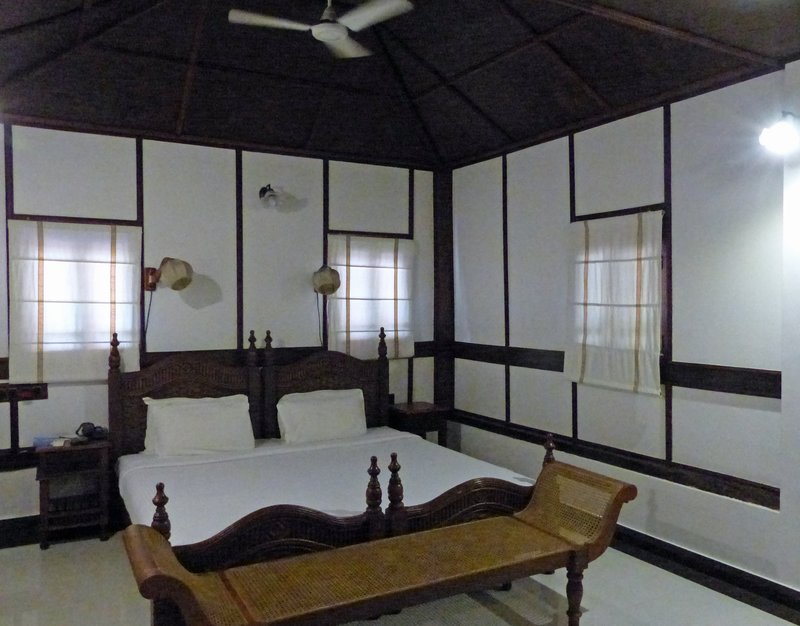 Inside our bungalow at the Travancore Heritage Hotel