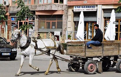 A Mercedes gives way to a horse-drawn vehicle in Korcë