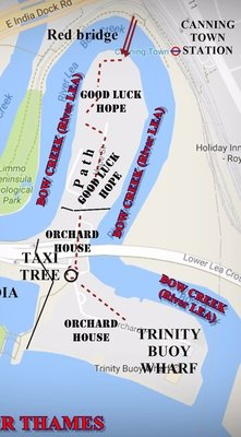 CITY ISLAND: Map showing old estates: Good Luck Hope and Orchard House