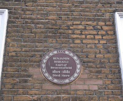 Curzon Street:  number 19 Disraeli lived here