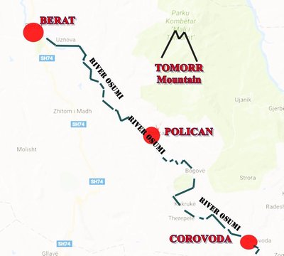 POLICAN: Location map including Berat and Corovoda