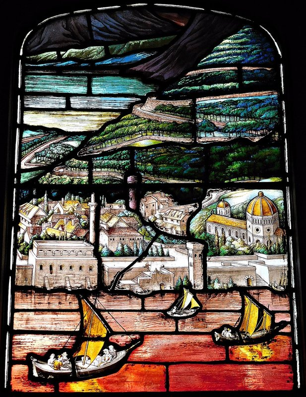 Two Temple Place: stained glass detail with boats