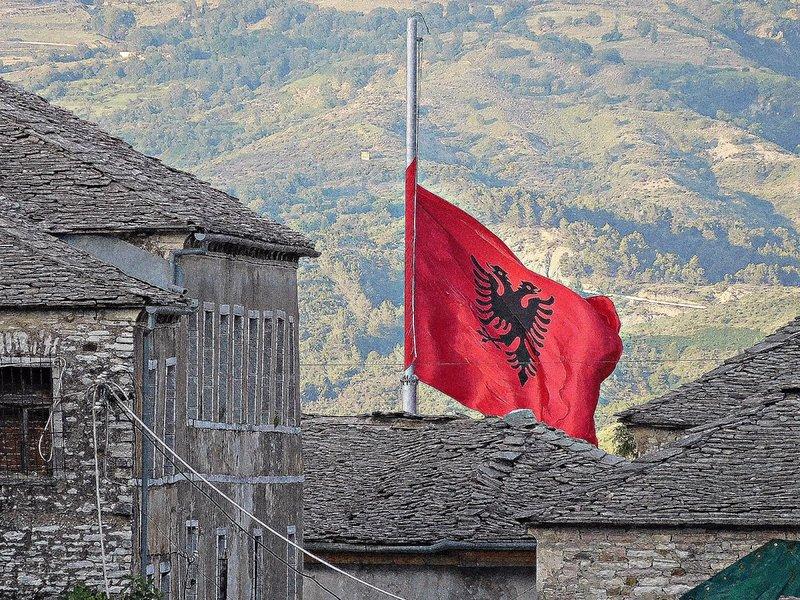 ALBANIAN FLAG GJIROKASTER