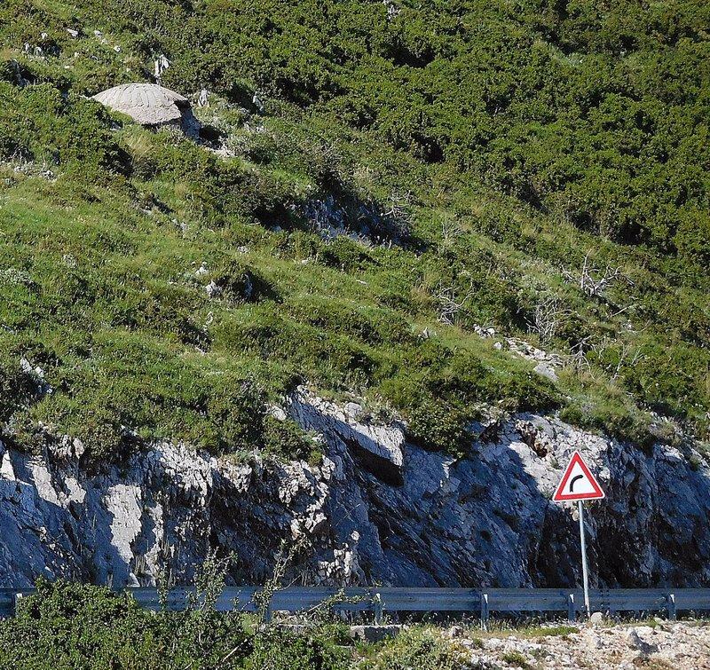 Llogara Pass bunker on a mountainside. 2016