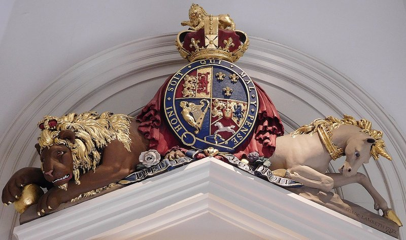 St James Church: Lion and Unicorn above entrance to nave