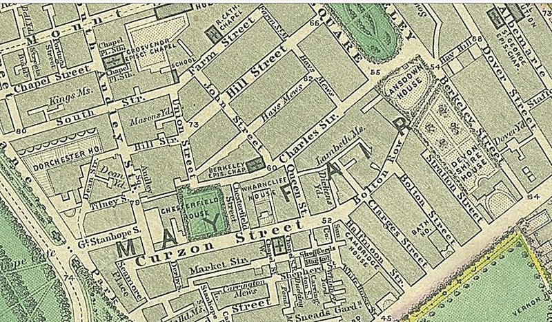 1862 map showing Curzon Street