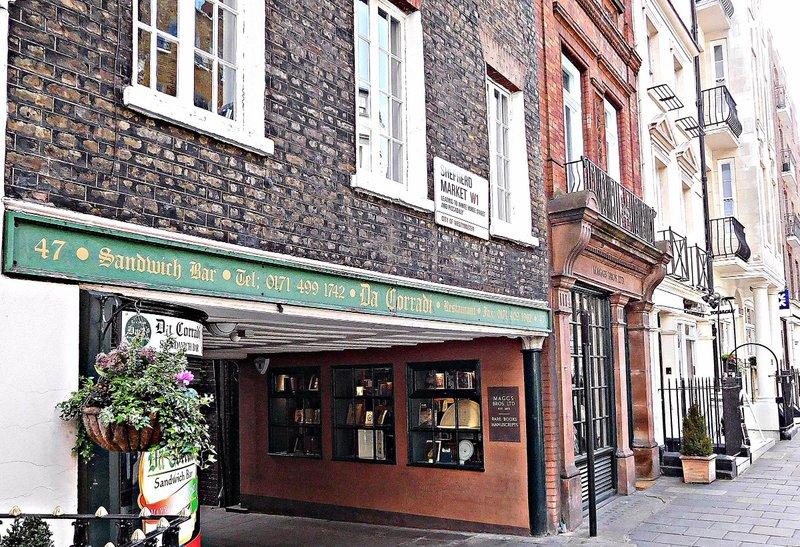 Shepherds Market entrance and  Maggs Bookshop
