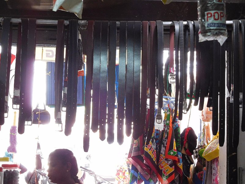 Belts in a shop on Vypin