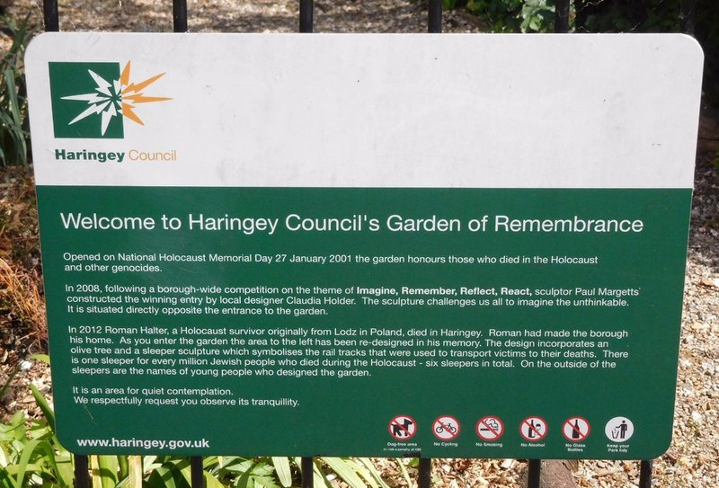 Bruce Castle Garden of Remembrance: information notice