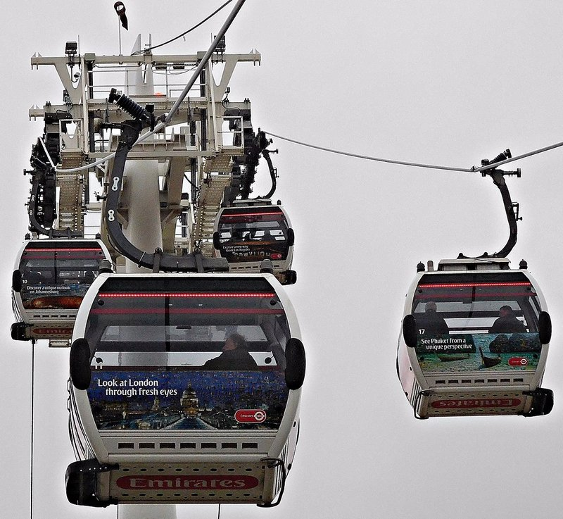 A cluster of Emirates Airways cable cars