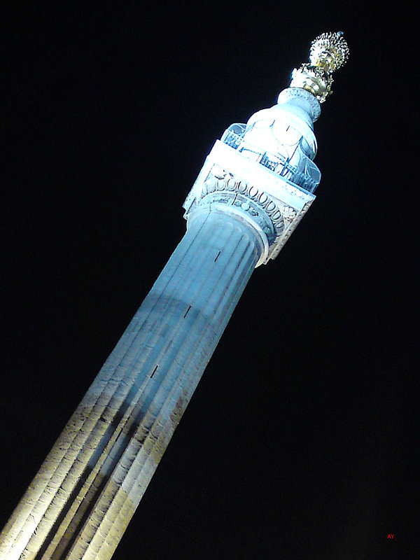 The Monument by night, London