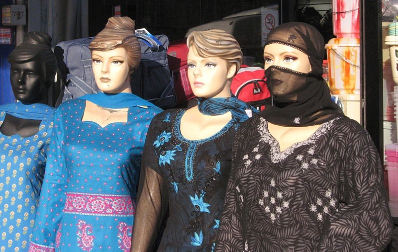 Four ladies in a window, Southall