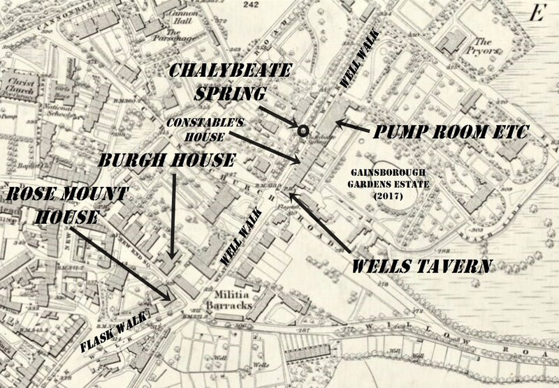 1866 map showing Flask walk and well walk