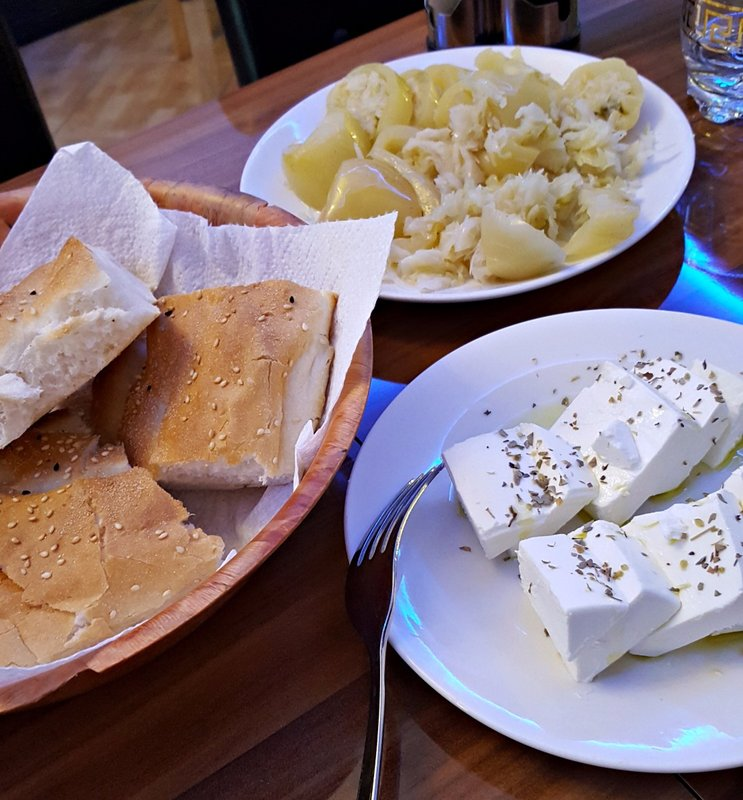 Bread cheese and pickles at Bardhoshi