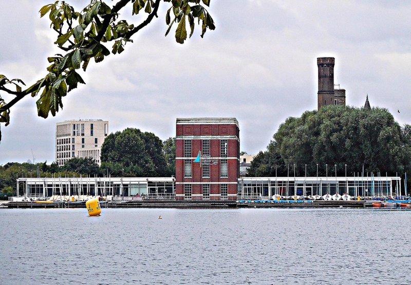View across West reservoir to Stoke Newington West Reservoir Centre