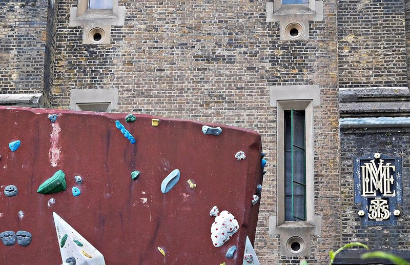 Victorian pumping station Green Lanes: Mylne's logo and a climbing wall