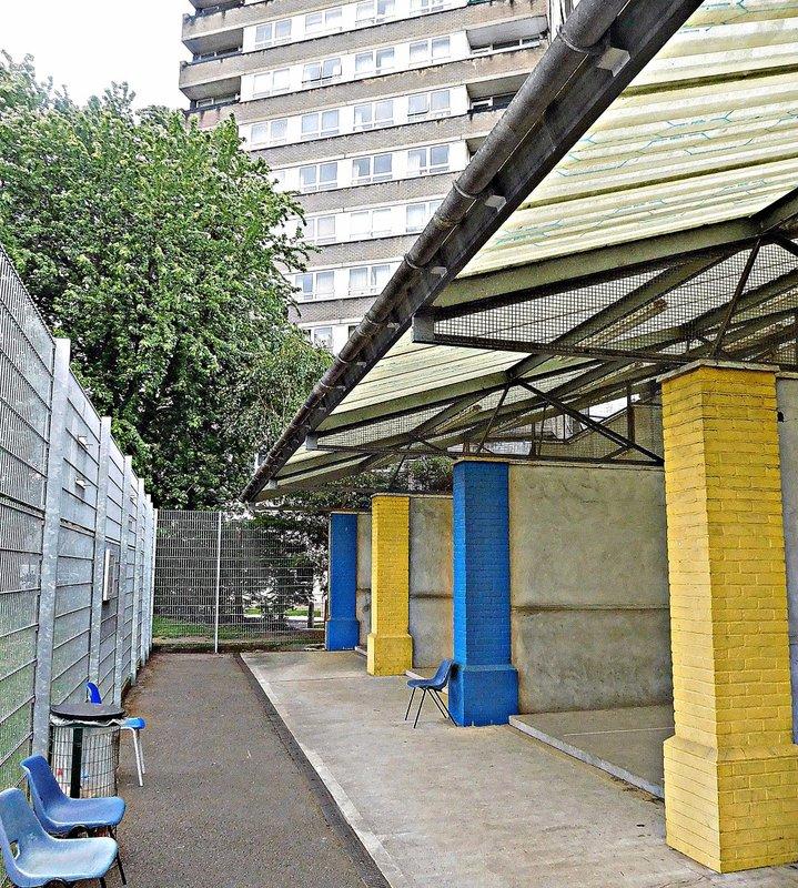 Under Westway / A3220 interchange. Eton fives courts