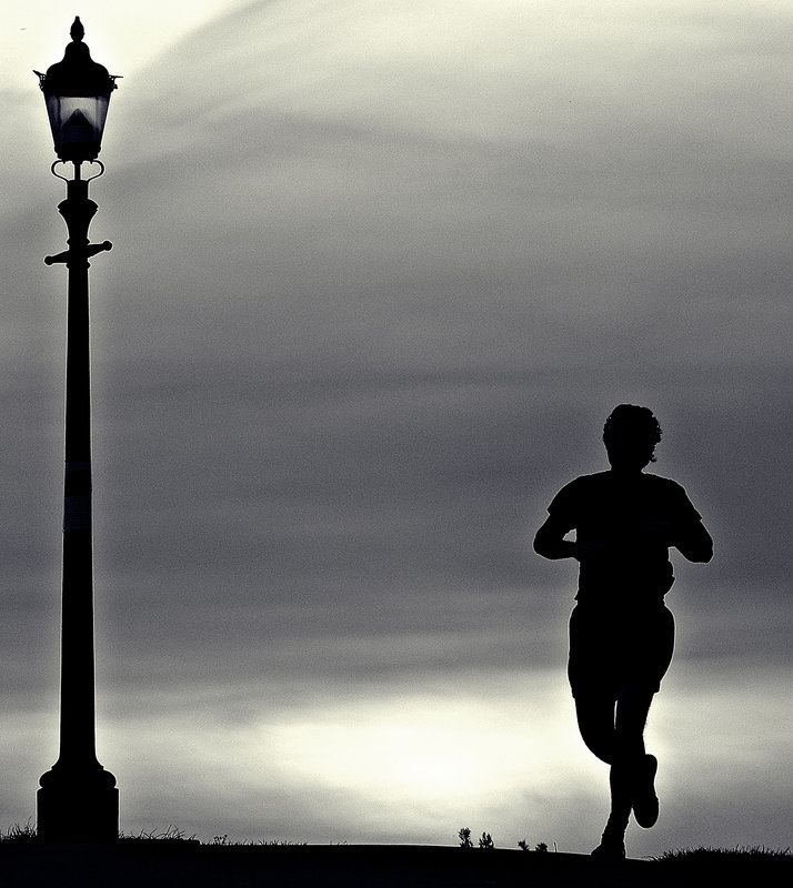 Evening jogger on Primrose Hill
