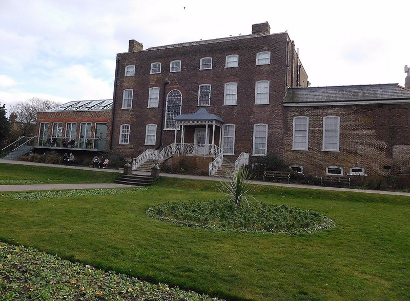 View of rear of William Morris Gallery (with its modern extension on the left) from Lloyd Park