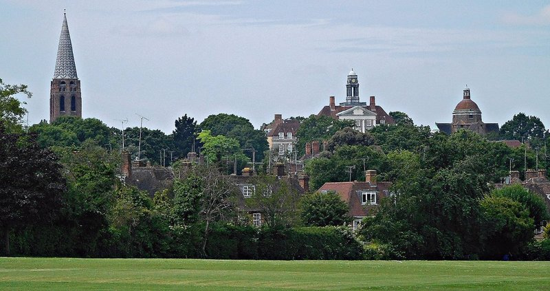 View of Hampstead Garden Suburb from playing fields near Norrice Lea