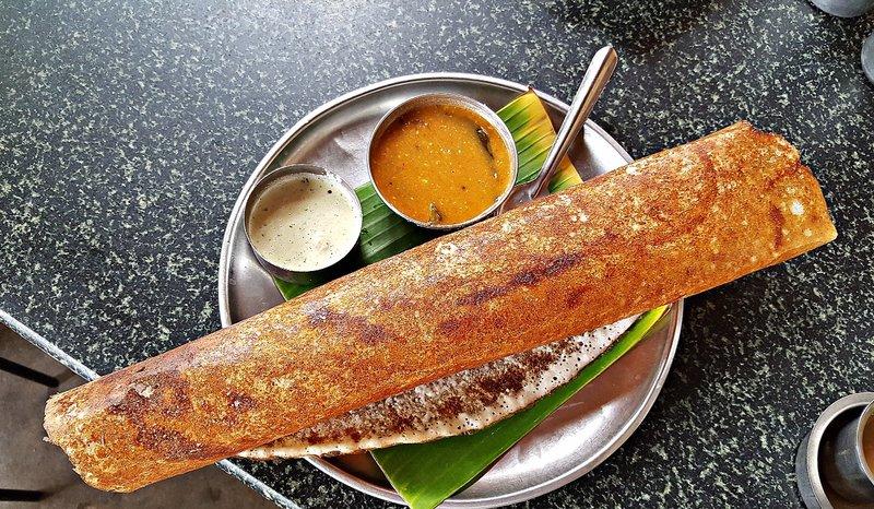 SANG 2a Dosa with chuthey and sambar (red liquid) at the Iyengar restaurant