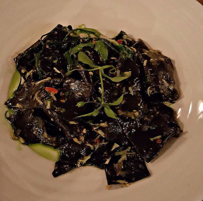 SHED 6 Squid ink papardelle with crab and chilli