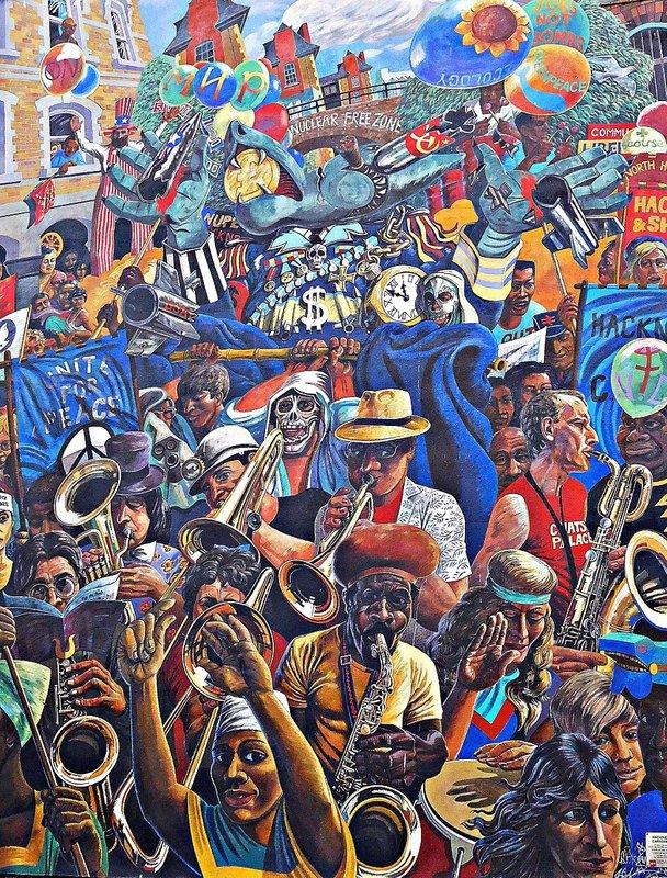 Hackney Peace Carnival mural- a detail