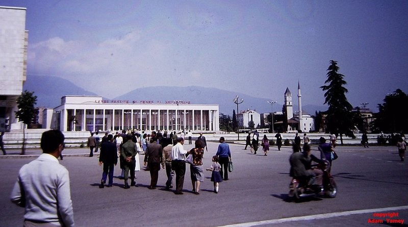 TIRANA 1984: Skanderbeg Square with House of Culture and mosque