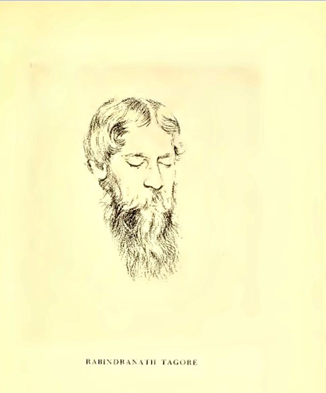 Rabindranath TAGORE sketched by Rothenstein